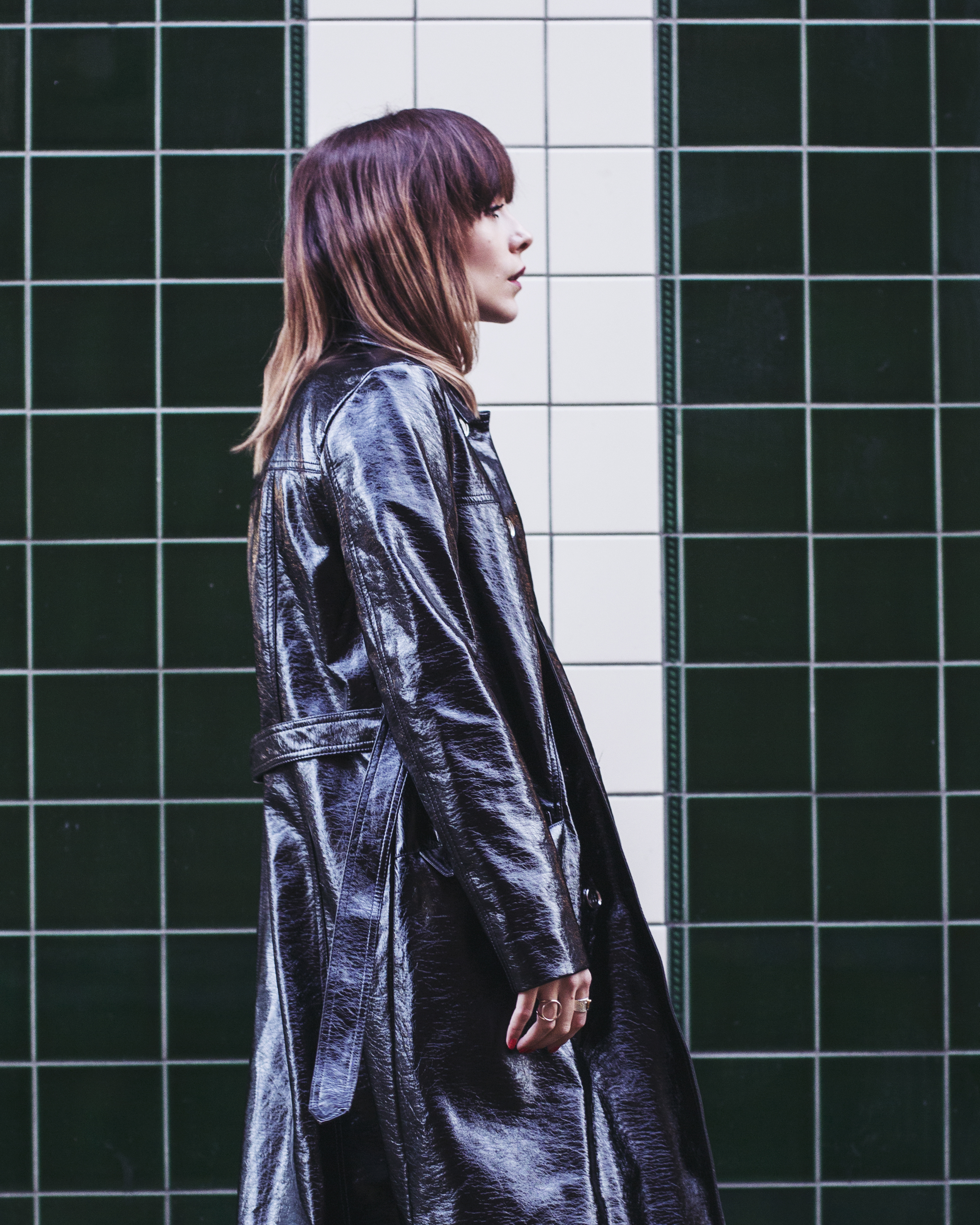 MEGAN ELLABY PROFILE WEARING ARCHIVE BY ALEXA PVC TRENCH COAT