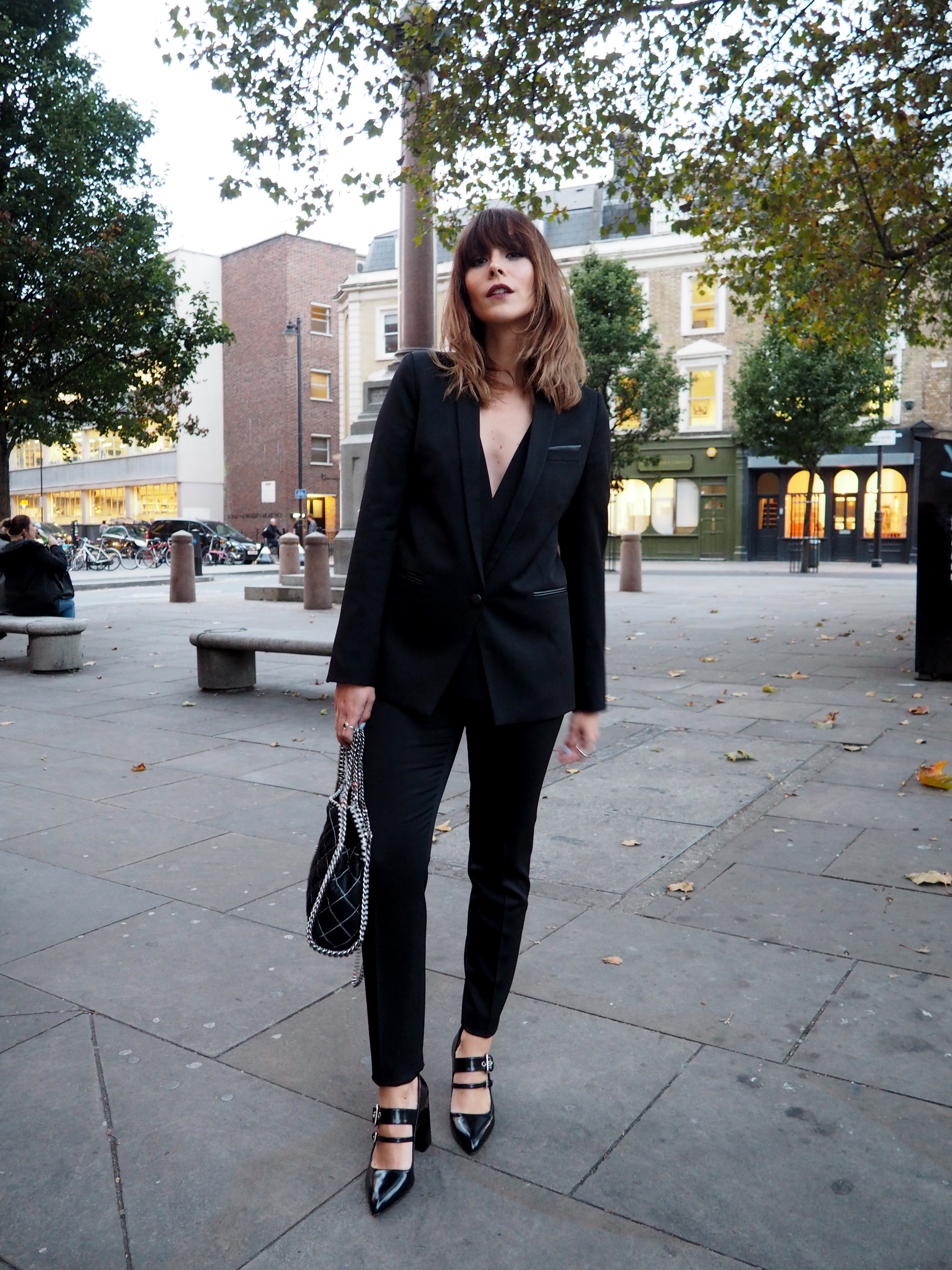 MEGAN ELLABY IN THE KOOPLES SUIT AND PRADA SHOES