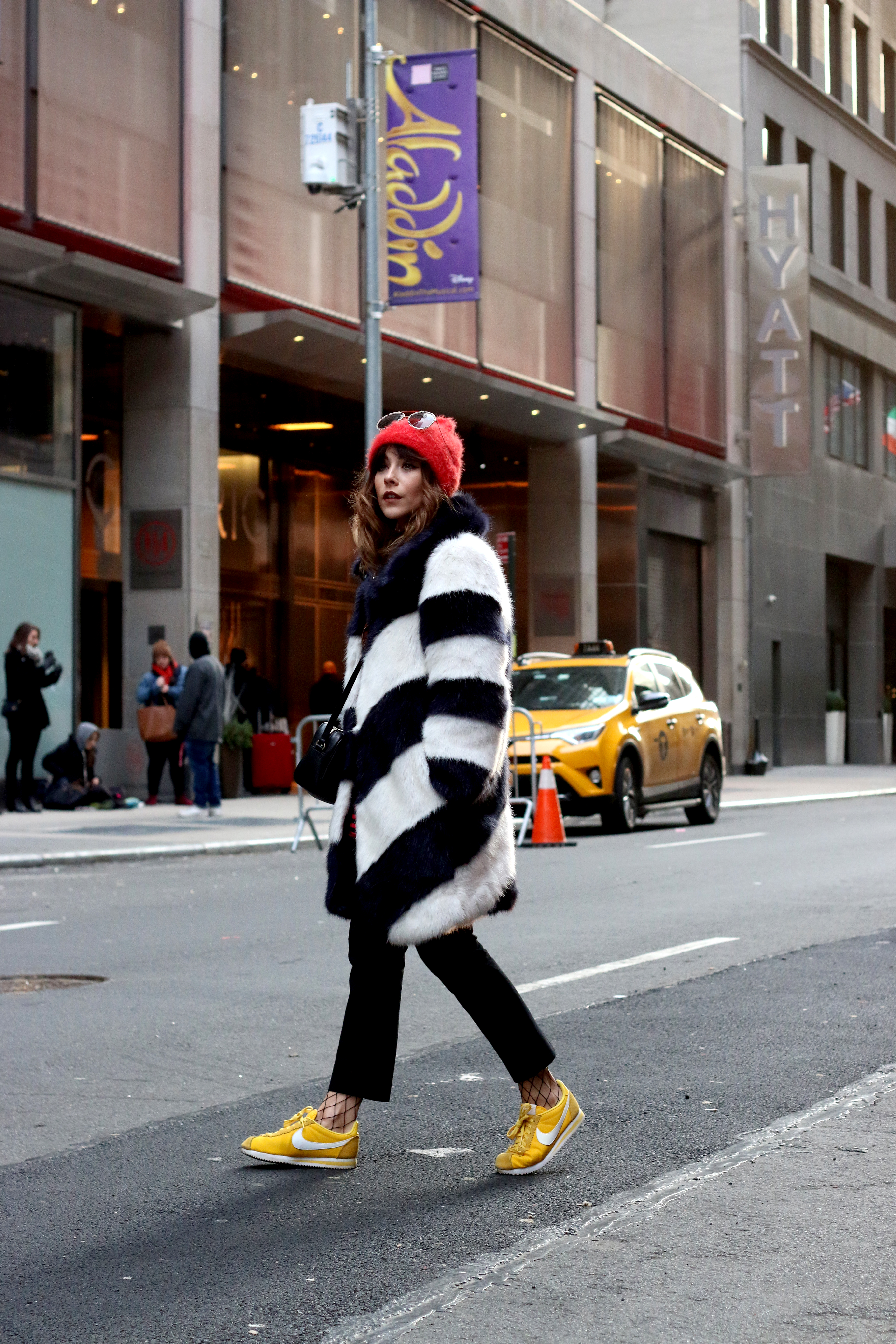 HOW TO WEAR A COLOURFUL FAUX FUR COAT